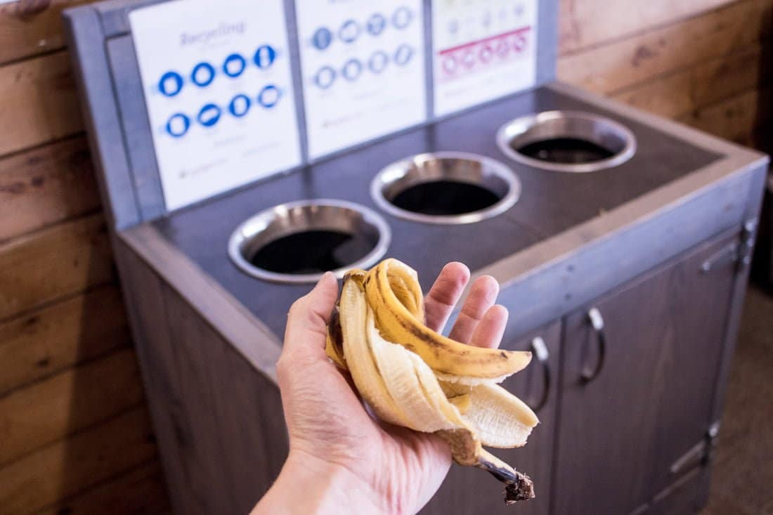 Hand throwing banana peel into waste system