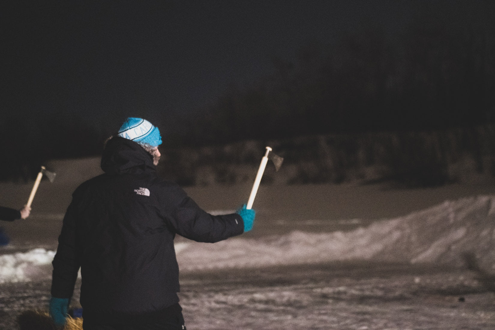 Hatchet throwing on the frozen lake