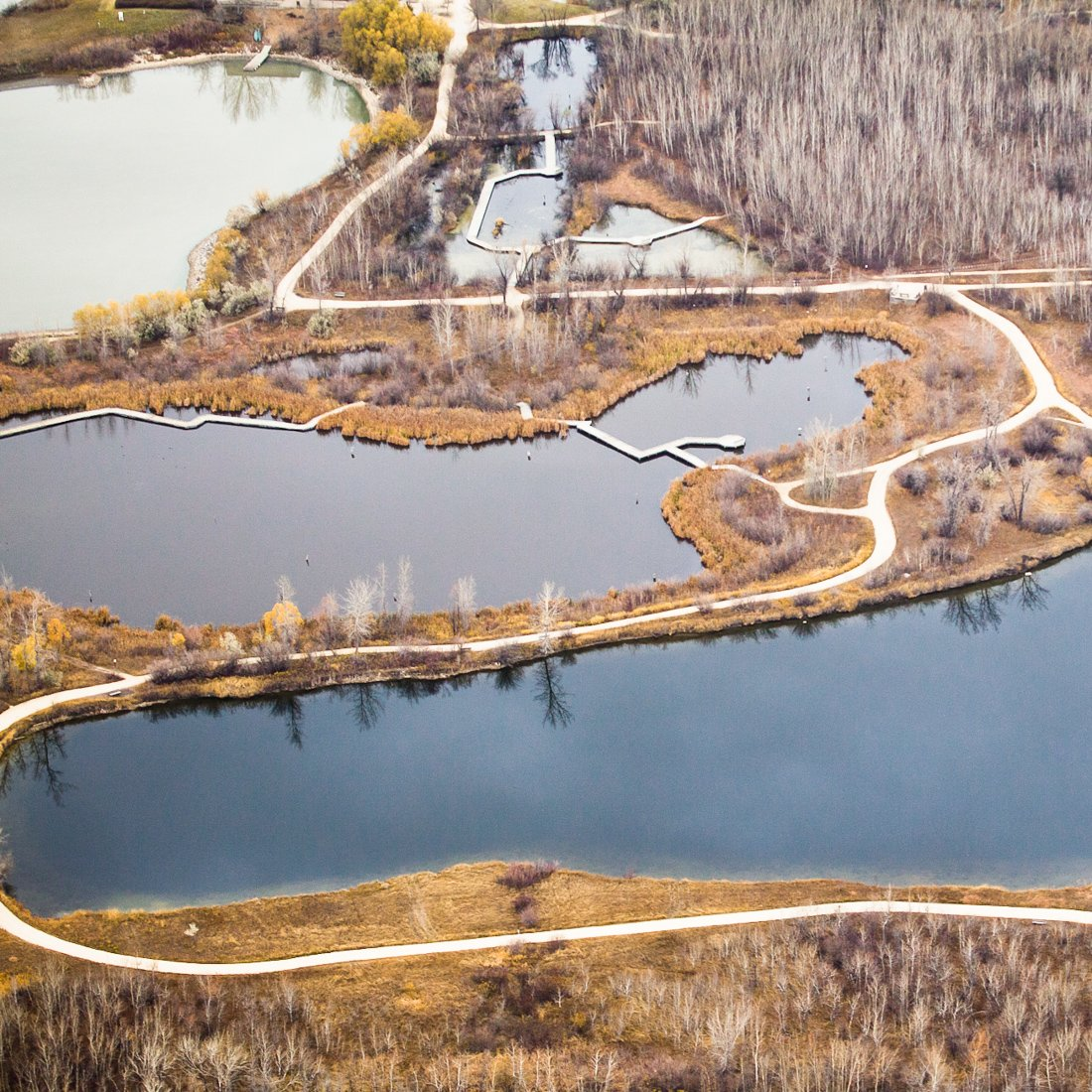 Aerial view of FortWhyte Alive's trail system