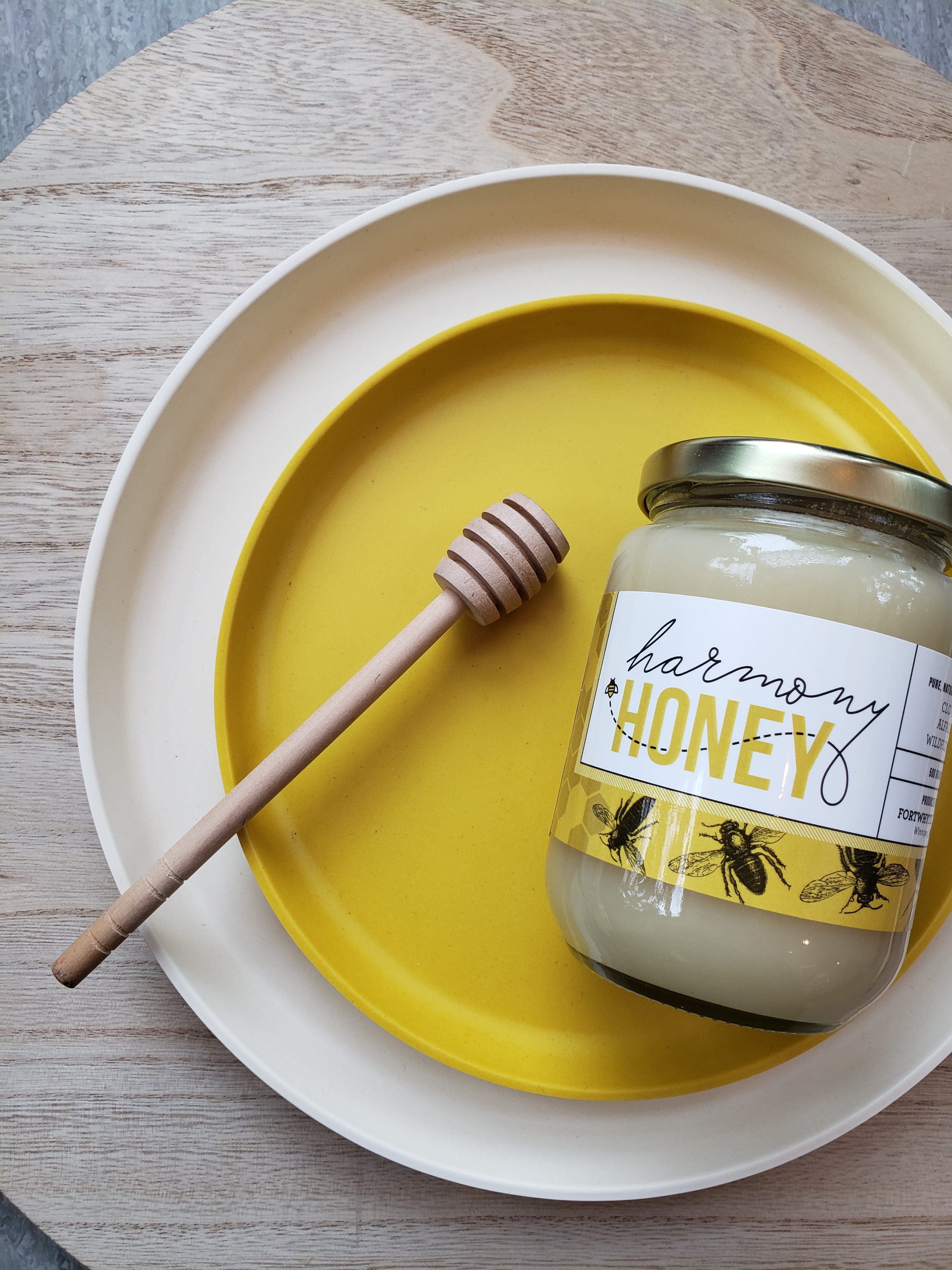 A jar of Harmony Honey from FortWhyte Farms