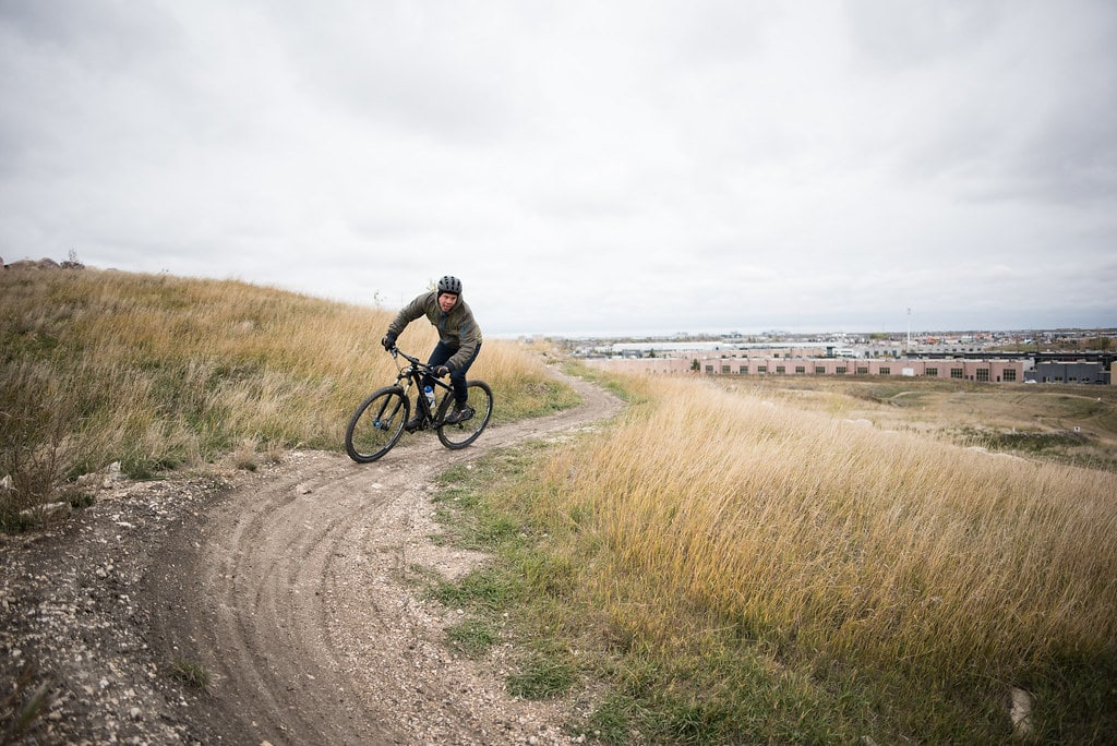 Mountain bike takes a corner on the Bison Butte Trail.
