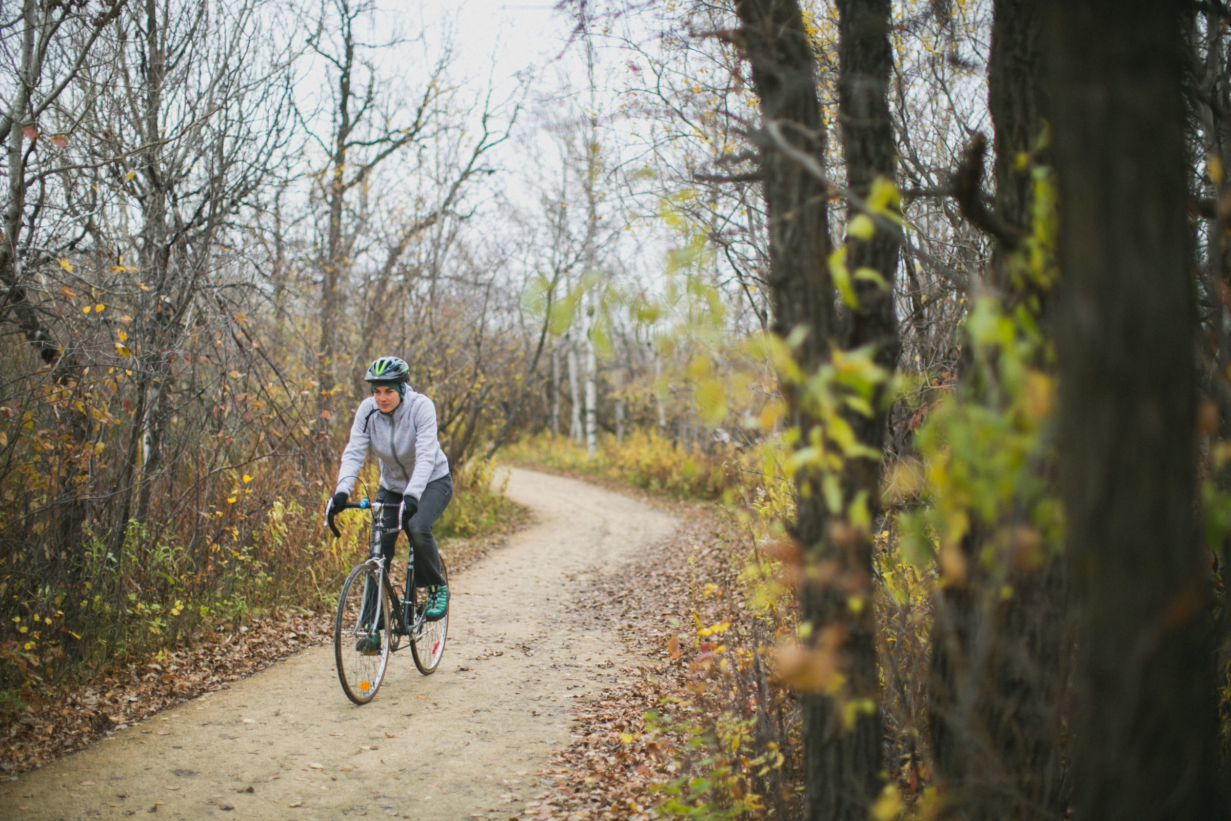 Visitor biking on trail through forest