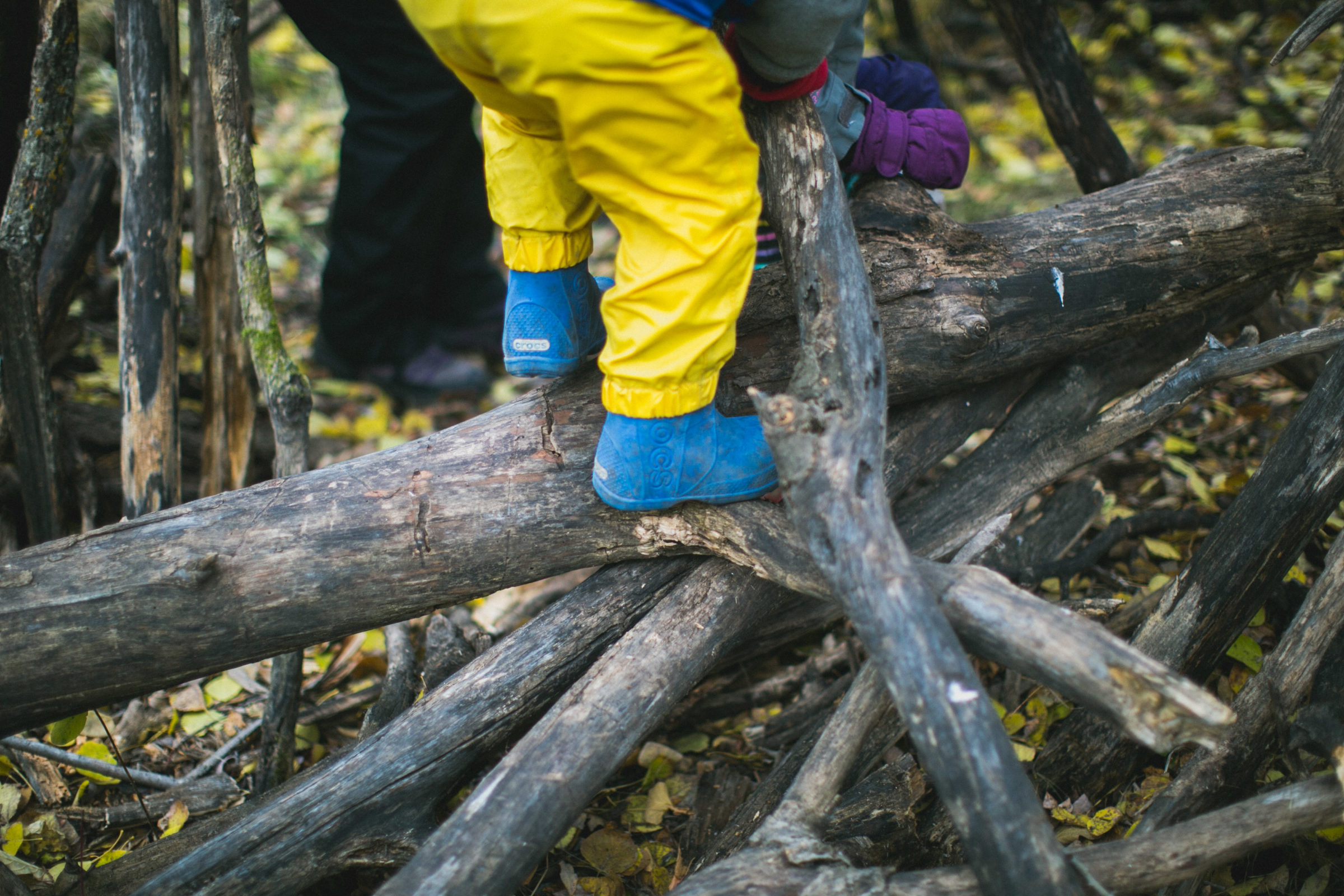 Close up of child climbing fallen logs in blue rubber boots