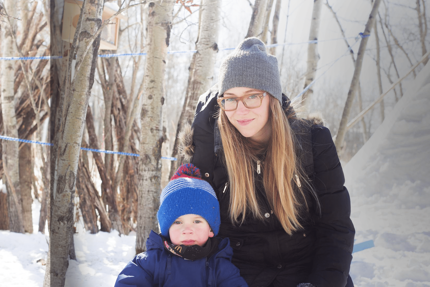 Lauren MacDiarmid and her son smiling together