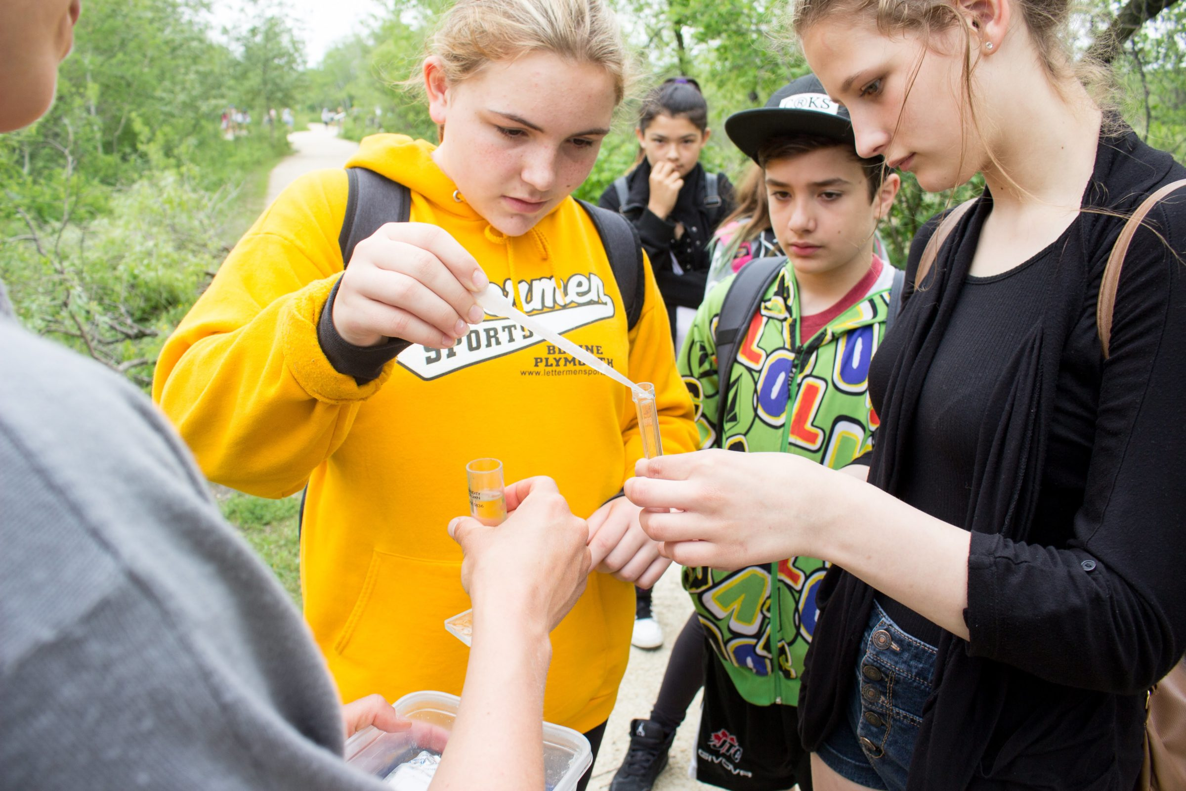 High School students testing water samples on Water Ecology Day