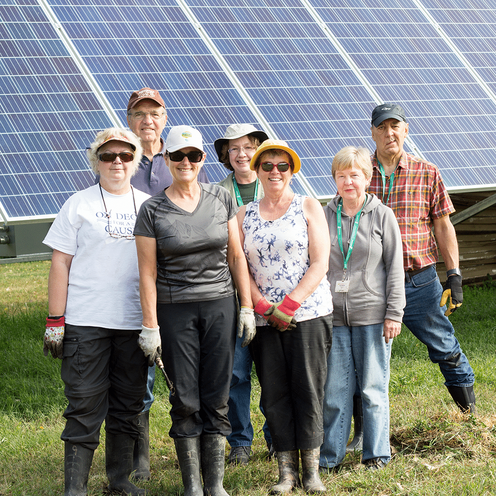 Group of volunteers standing in front of solar panels.