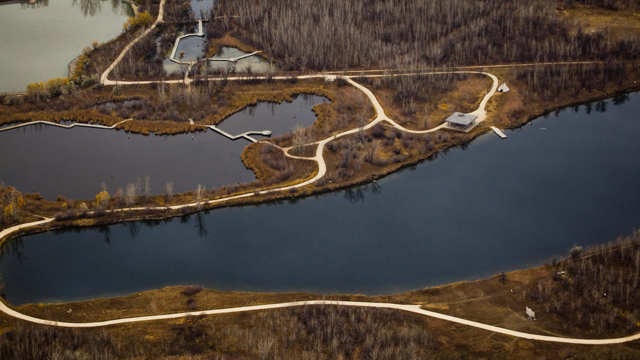 aerial view of fortwhyte alive's trails in spring