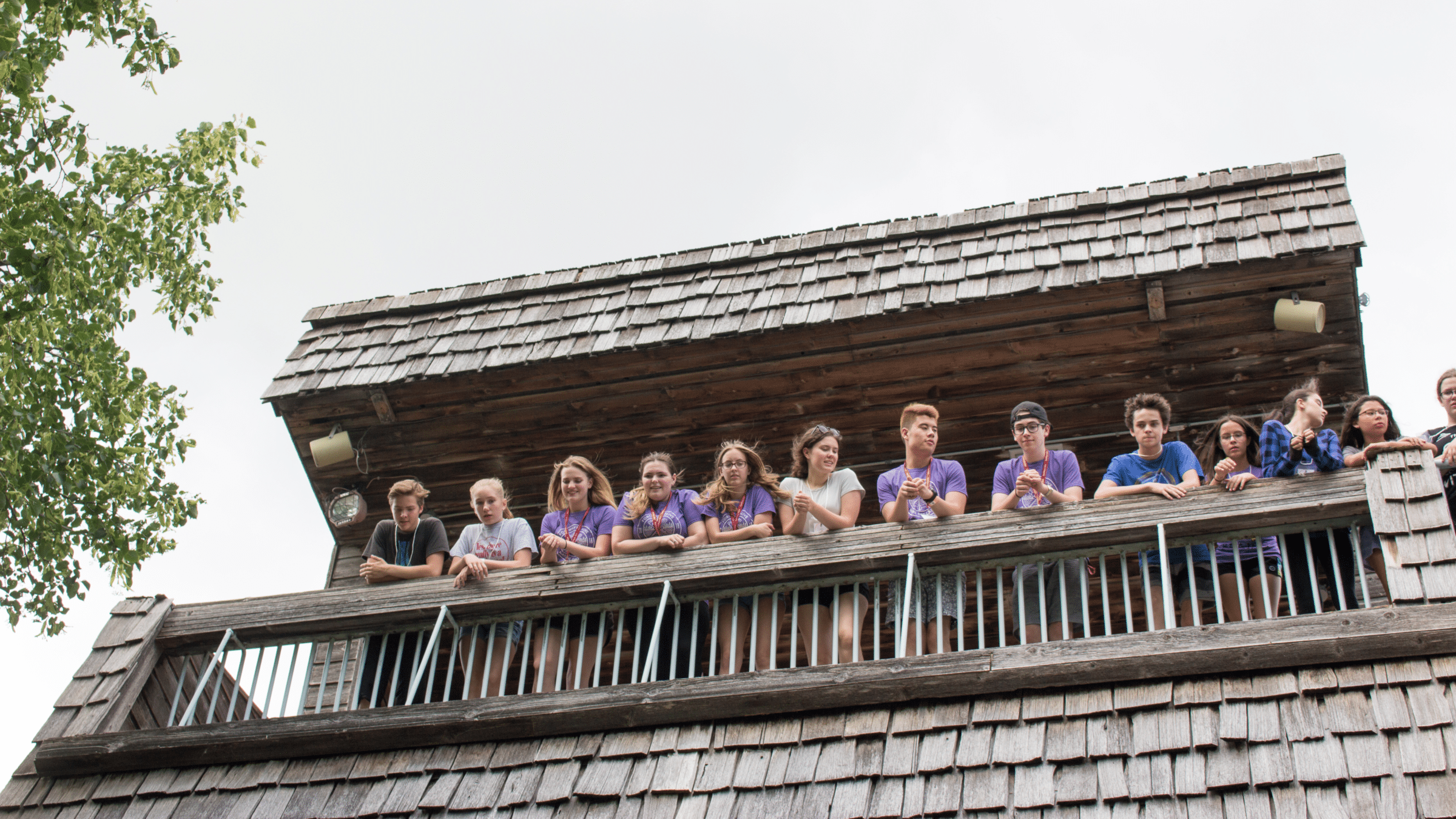 A group of camp counsellors hanging out on the Interpretive Centre's observation deck.