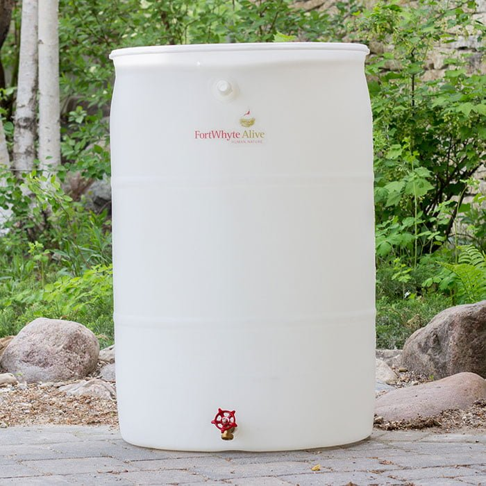 Image of a rain barrel made with recycled materials