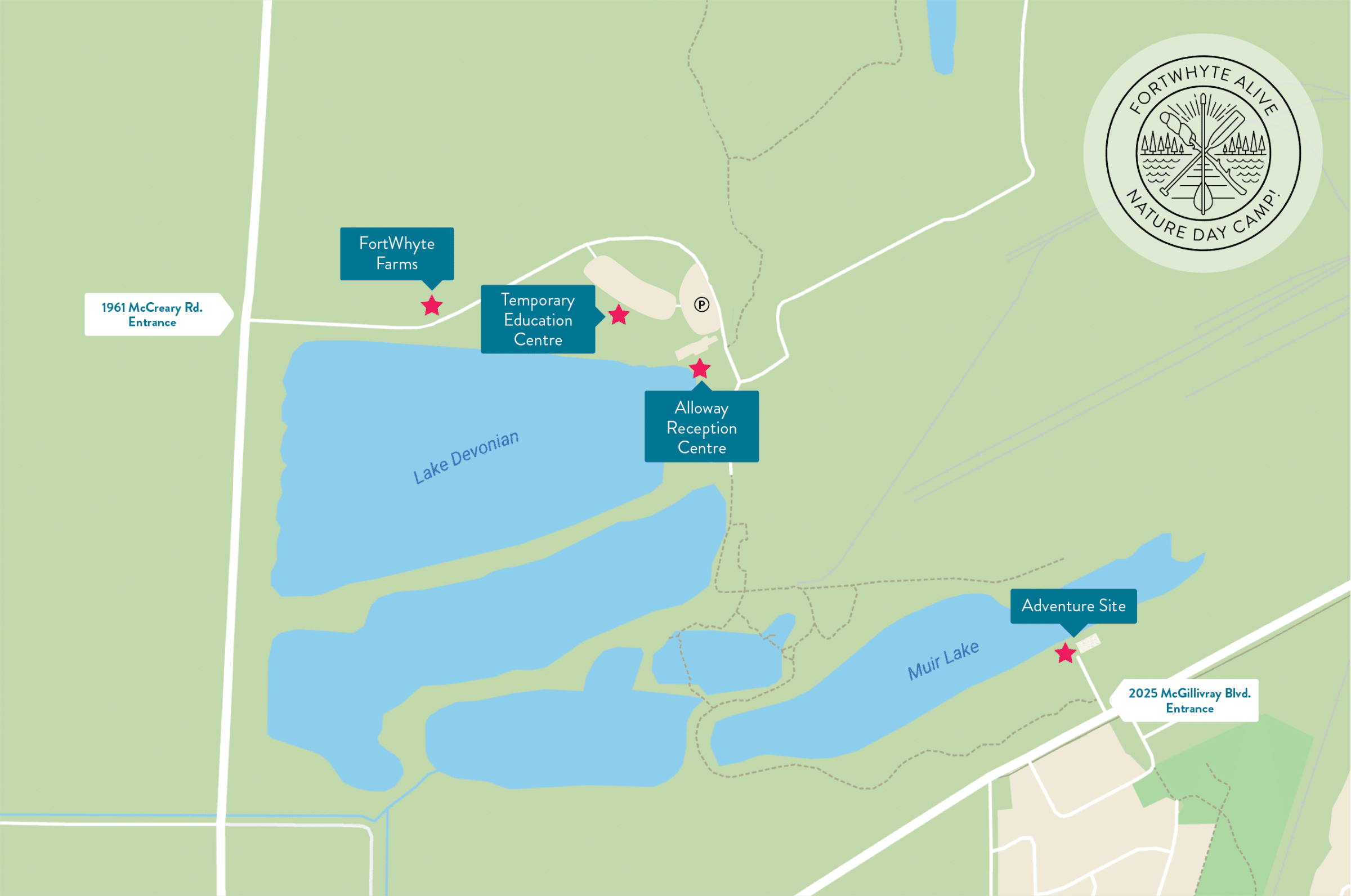 Map of FortWhyte highlighting various drop off points.