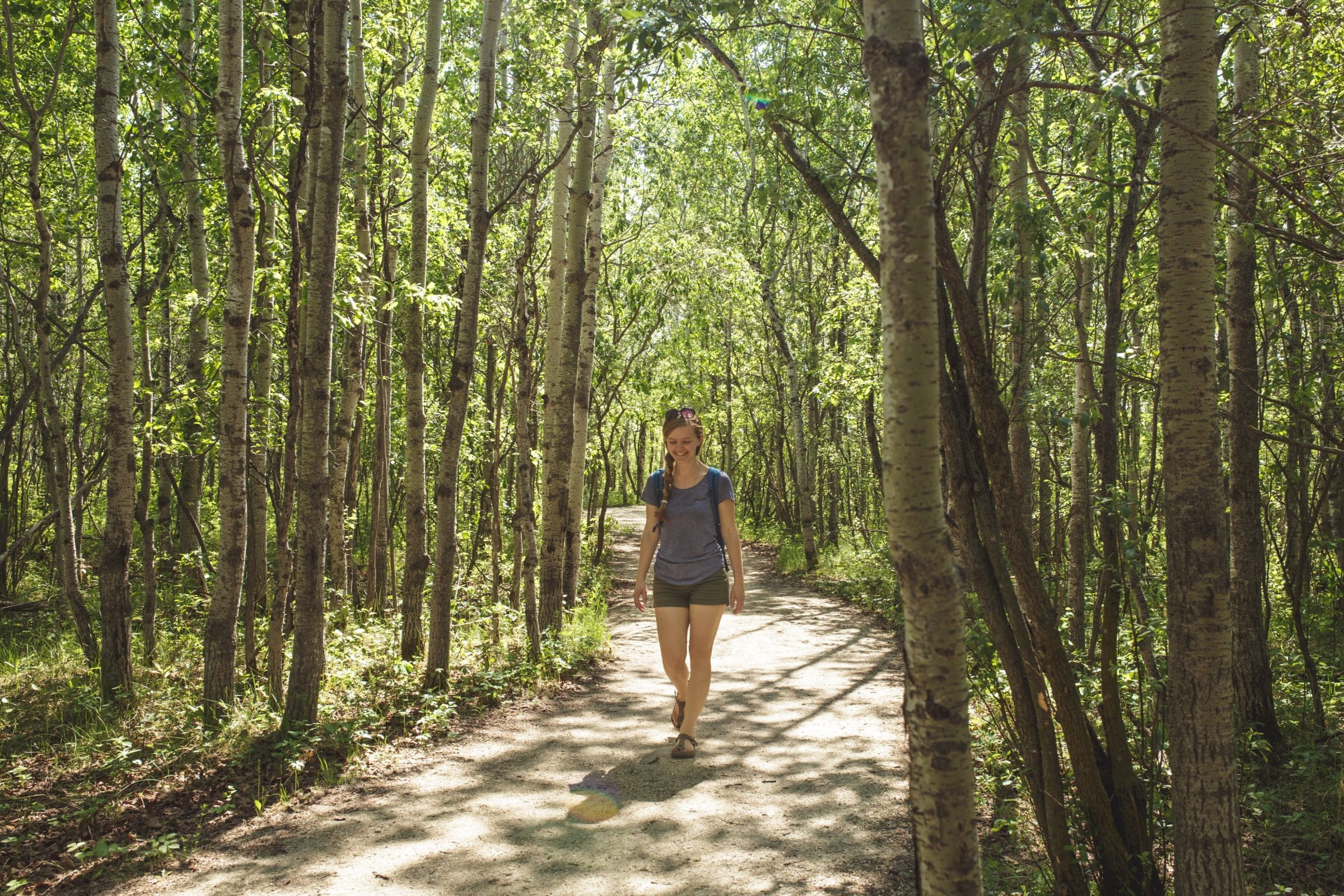 Woman walking along in the forest with the summer sun shining through the trees
