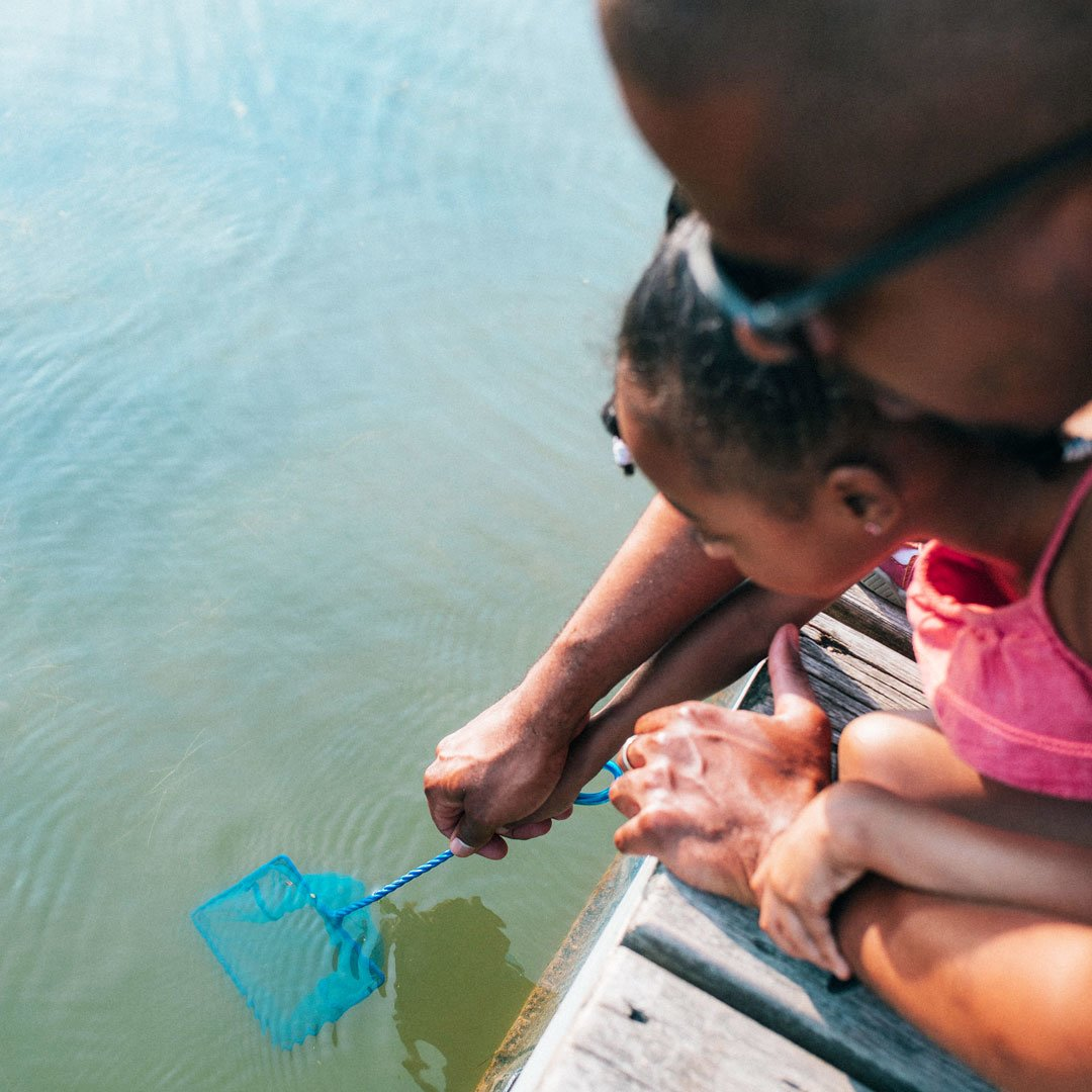 A parent helps their child use a dipnet off the boardwalk into the marsh.
