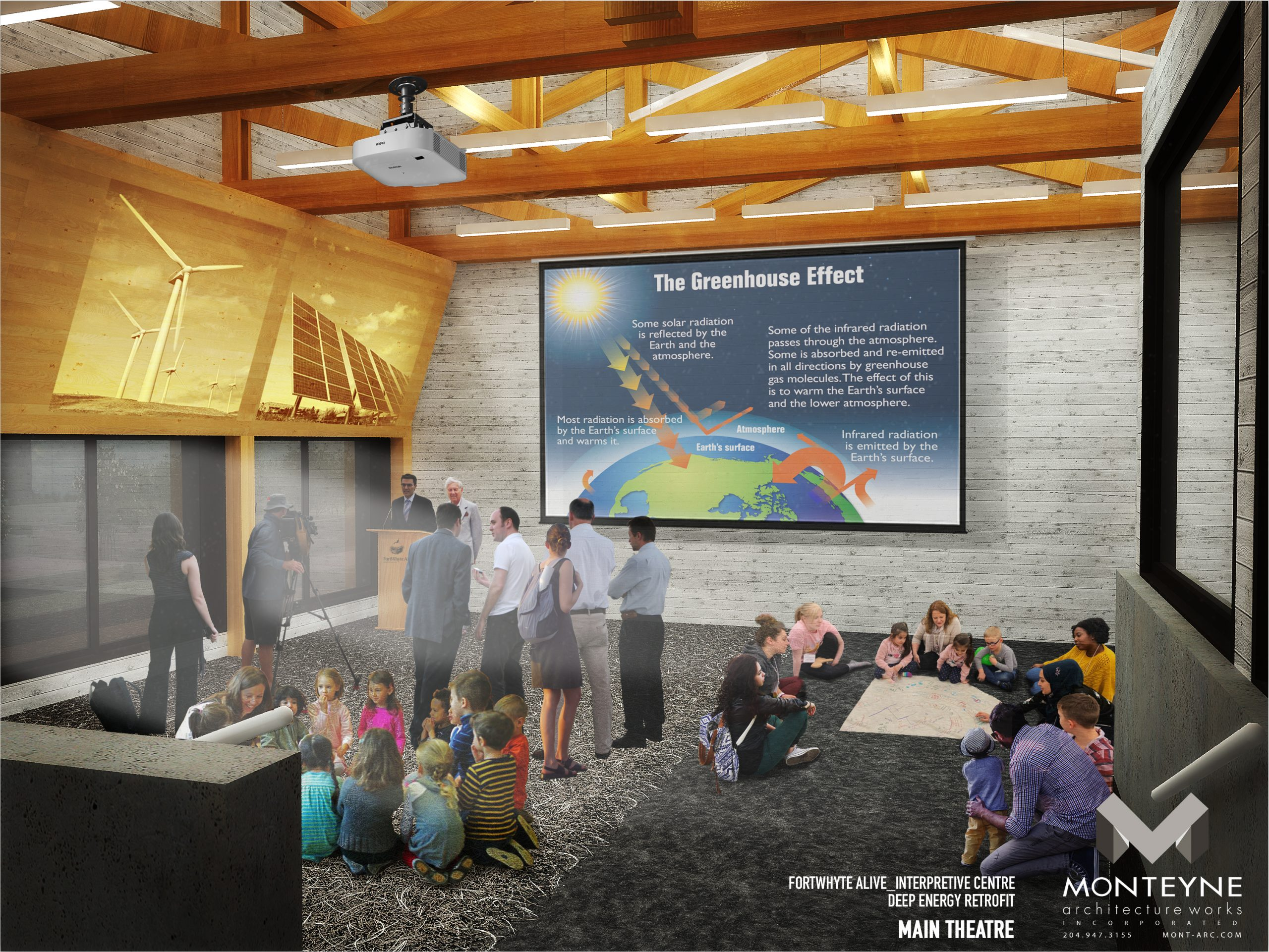 Rendering of interior of Interpretive Centre