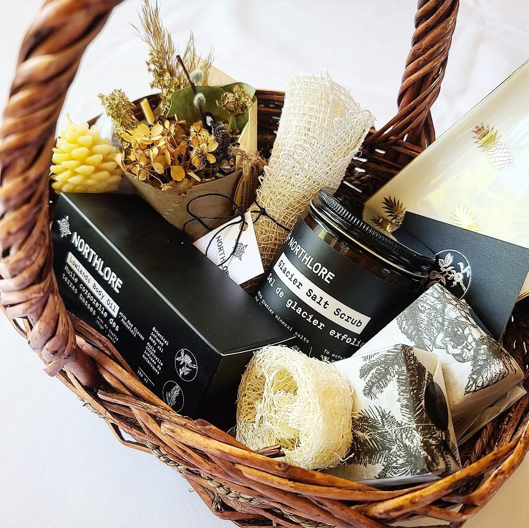Various Northlore supplies in a brown wicker basket