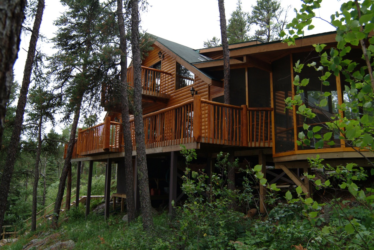 Exterior of a log cabin surrounded by tall trees.