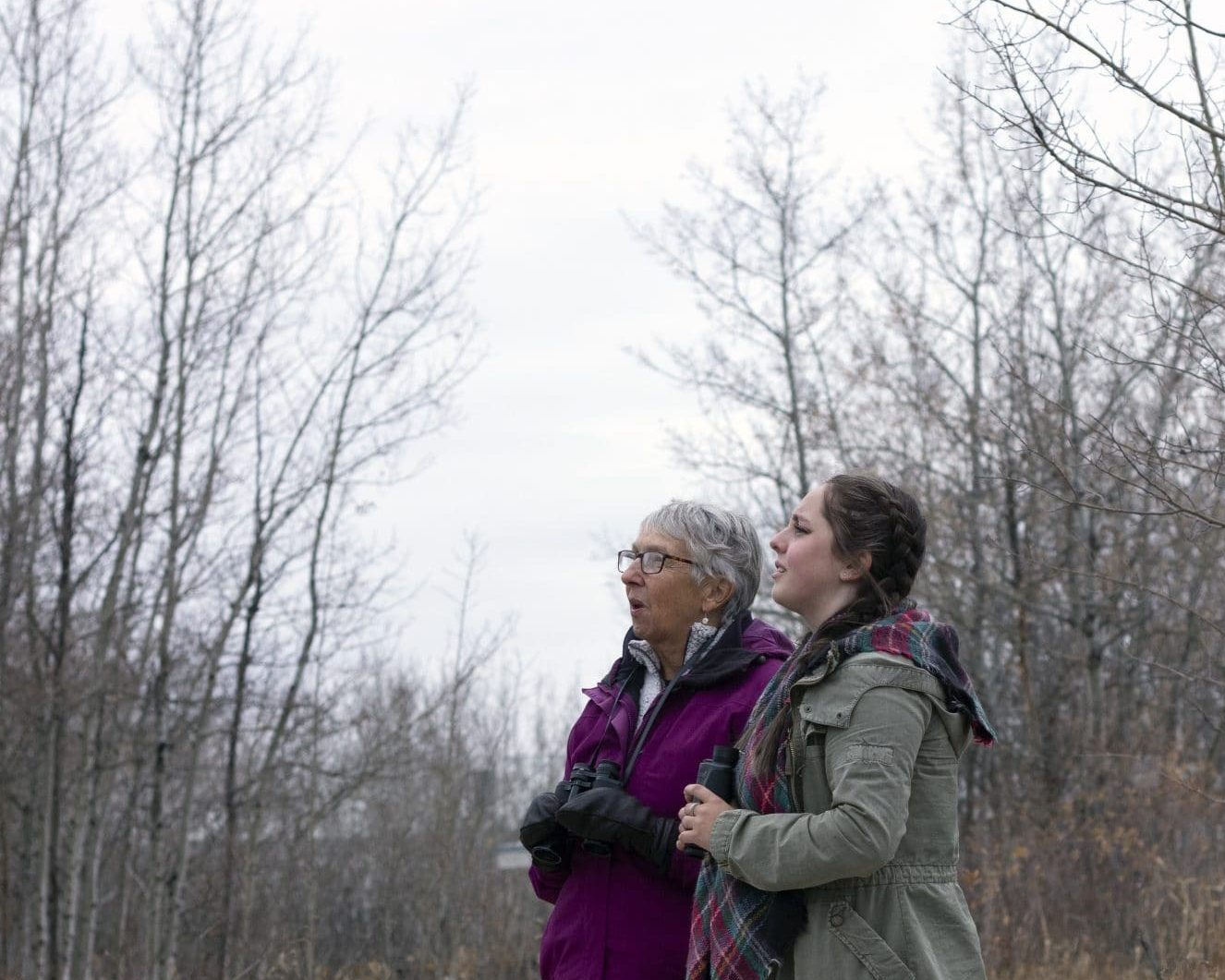 Barbara and Madeleine look at a bird in the trees.