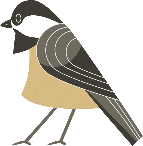 Illustrated chickadee perched on a branch