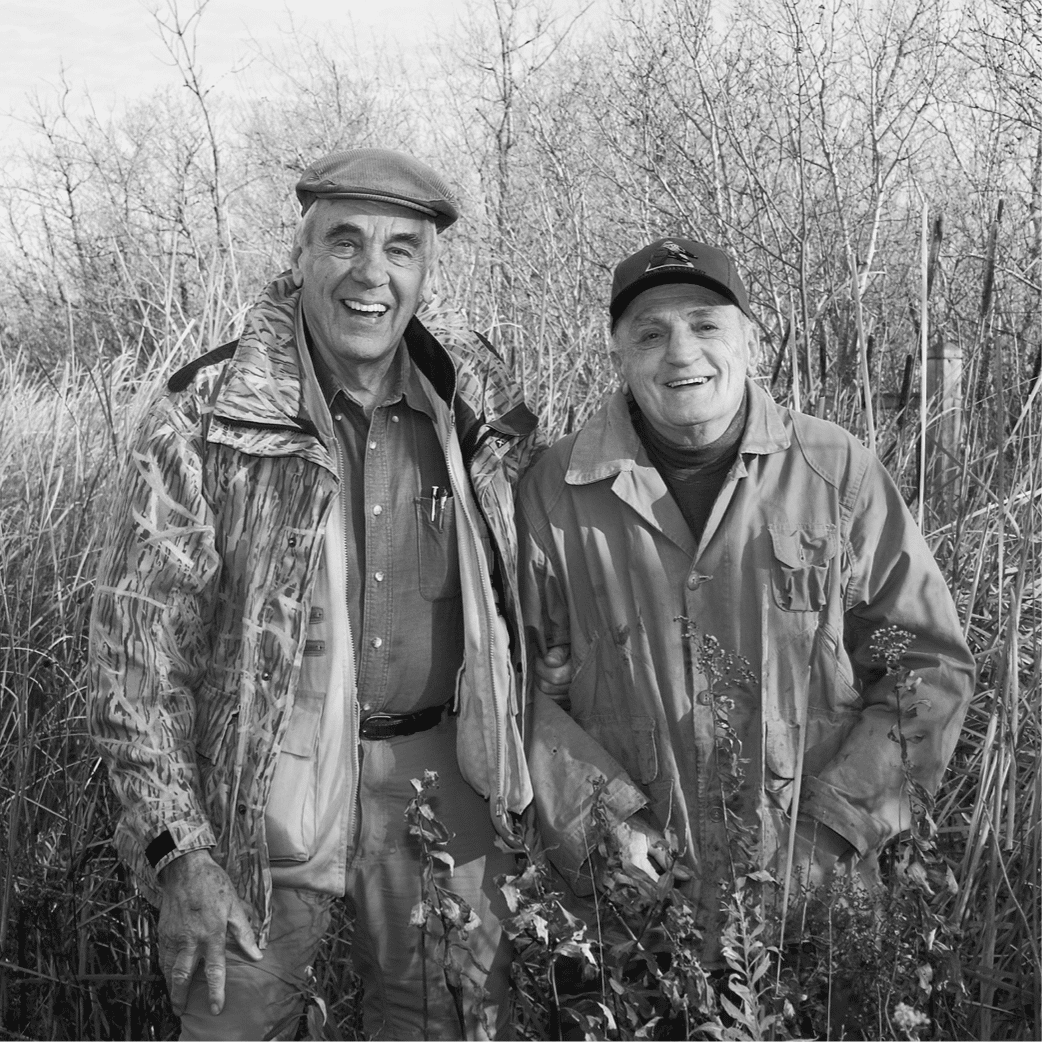Black and white image of Alan Scarth and Sam Fabro at FortWhyte Alive.